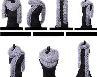 Super long chunky scarf 100% chunky merino wool scarf Handmade ethical infinity scarf non mulesed wool knit extreme knitting grey blue seal