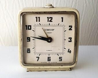 Vintage large alarm clock Russian wind up clock Soviet Mechanical old desk clock USSR Serkisof clock Table clock Collectible shelf clock