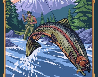 Whitefish, Montana - Fisherman - Lantern Press Artwork (Art Print - Multiple Sizes Available)