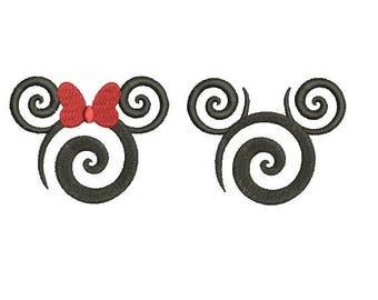 27 Sizes Swirl Swirly Scroll Disney Minnie Mickey Mouse Head Ears Design Embroidery Fill Machine Instant Download Digital File EN2136F1F2