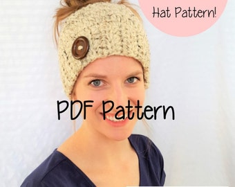Chunky Messy Bun Hat Pattern, Chunky Messy Bun Beanie Pattern, Chunky Ponytail Hat Pattern, Crochet, Hats for Ponytails, Messy Bun Crochet