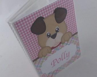 BABY photo album Girl photo album personalized photo album grandmas brag book newborn baby shower gift 4x6 or 5x7 picture pink puppy dog 434