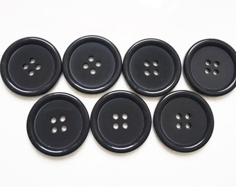 large nos charcoal gray minimalist buttons--matching lot of 7