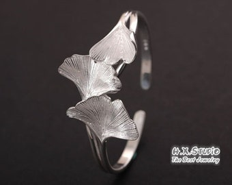 Silver Ginkgo Leaf Bracelet, Solid Silver Ginkgo Bracelet, Anniversary, Birthday, Christmas, Gift,  Wholesale Available