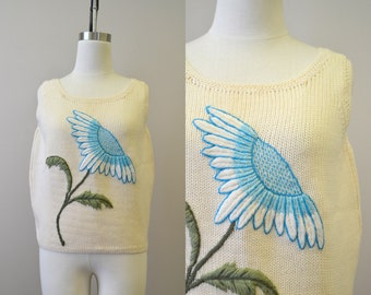 1960s Evan-Picone Blue Daisy Sweater Tank
