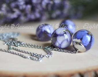 Flower necklace Blue delphinium Pressed flower nature inspired jewelry real flower necklace