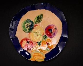 Ceramic serving plate, fruit dinner plate, handmade plate, organic ceramic, unique gift