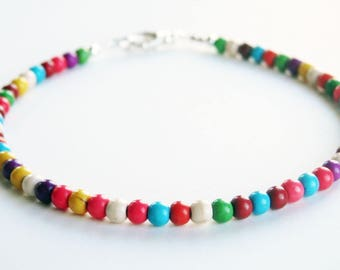 Colorful Beaded Bracelet - Multicolor Bracelet - Magnesite Bracelet - Genuine Stone - Stacking Bracelet - Small Bead Bracelet - Plus Size