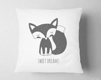 Fox Sweet Dreams Pillow Nursery, Boy Room Fox Decor, Woodland Name Pillow, Nursery Woodland Decor , Kids Pillow Decor , Custom Boy Pillow