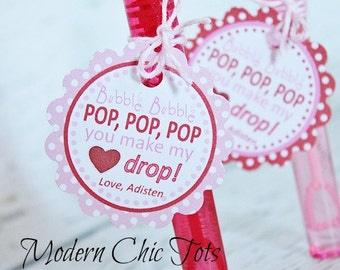 Bubbles Valentine's Day Printable Tags