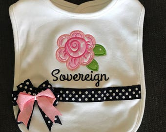 Floral Tribal Newborn Shower Gift Bib, Personalized Floral Bib, Floral baby bib, Embroidered Floral Bib