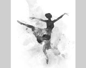Ballerina ART PRINT illustration, Black and White, Ballet Dancer, Dance, Wall Art, Home Decor, Gift