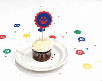 Paw Print Cupcake Toppers, dog theme party, blues clues decorations, paw patrol party, kids birthday decoration