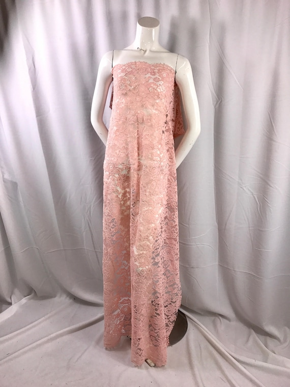 Blush/pink vintage corded french lace embroider on a antique mesh ...