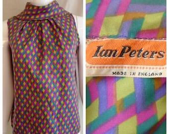 Vintage 1960s Blouse Sleeveless Summer Top Mod Print Harlequin Ian Peter Medium 38 Bust