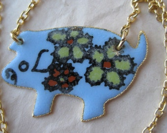 Pig Flower Blue Yellow Enamel Necklace Gold Vintage Pendant