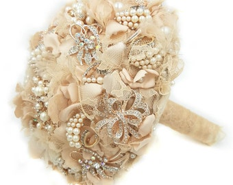 Rose Gold and Blush Brooch Bouquet, Brooch Bridal Bouquet, Ready to Ship, Brooch Wedding bouquet