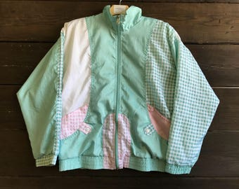 Vintage 90s Pastel Gingham Windbreaker Jacket