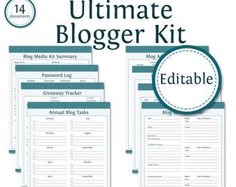 Ultimate Blogger Kit - Fillable - Printable PDF - Bundled Kit (14 documents) - Instant download