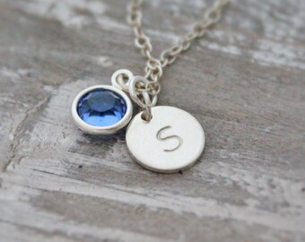 Initial Necklace-Birthstone Necklace-Hand-Stamped Necklace-Birthday Gift-Personalized Necklace-Charm Necklace-Gifts for her-Stamped
