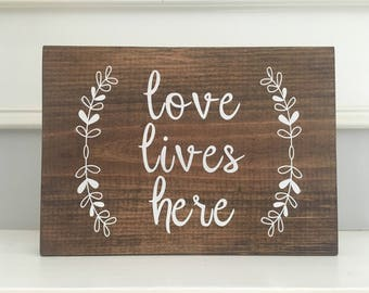 Love Lives Here Wooden Wall Decor