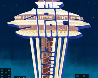 Space Needle - Typography - Seattle, Washington (Art Prints available in multiple sizes)