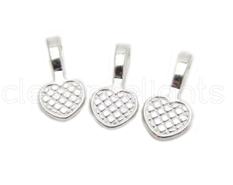 100 Heart Bails - 20x10mm - Shiny Silver Color - Medium Glue On Bails - Scrabble Glass Pendants Round Heart Bail - 3/4 x 3/8 inch 10x20 mm