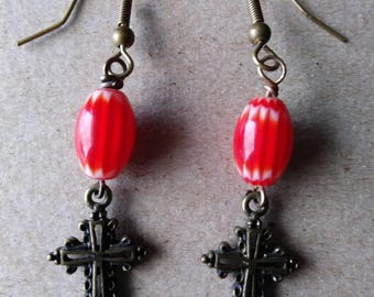 Red Chevron Bead Antiqued Gold Cross Earrings, Handmade Glass Chevron Religious Jewelry Cross Charm Earrings Boho Accessories Gypsy Jewelry