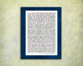 Man in the Arena - 16x20 Gallery Wrapped Canvas Theodore Roosevelt - Navy white  Great gift for business person