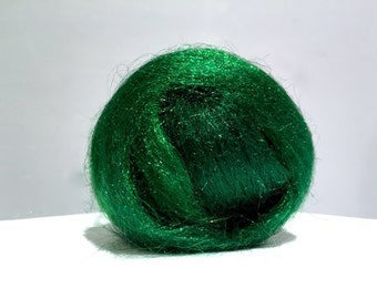 Emerald Green Firestar, Needle Wet Nuno Felting, Blending Spinning Fiber, roving, .5 oz, bright green, similar to Icicle Top, Saori weaving