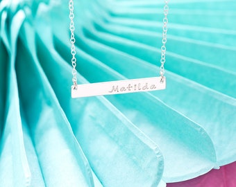 Nameplate Necklace / Name Plate Necklace / Personalised Bar Necklace / Custom Name Necklace / Silver Bar Necklace / Personalised Necklace