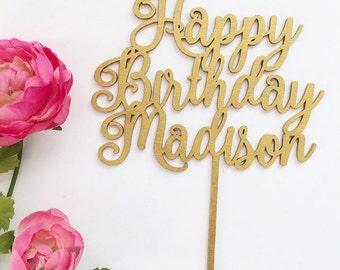Custom Happy Birthday Cake Topper, Personalized Birthday Cake Topper, Birthday Sign, Cake Decor, Birthday Cake Topper,  Wood Topper