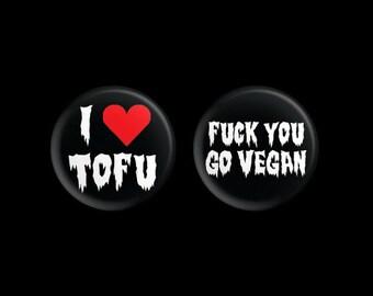 "Vegan Button Bundle (I Heart Tofu & Go Vegan) 1.25"""