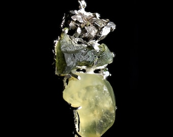 Meteorite Moldavite & Libyan Desert Glass Tektite Pendant 'Star Being' .925 Sterling Silver + Synergy 12 Stone Unique , Rare, Powerful!!