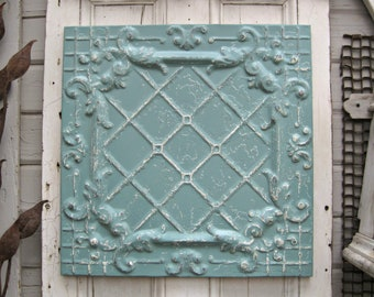 Antique Ceiling Tin Tile. FRAMED 2x2 antique metal tile.  Vintage architectural salvage. Aqua Metal wall decor. Old pressed tin.