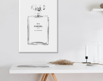 Large Canvas Chanel art printed Large Chanel wall art coco Chanel poster coco Chanel print coco Chanel wall art  Chanel No.5 Ready to hang
