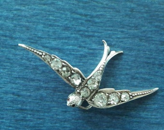Antique convertion silver 800 and paste swallow pendant
