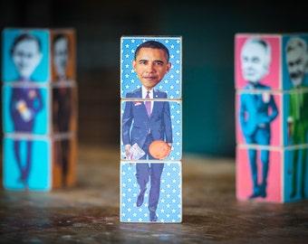 Presidents Poli-blocks - wooden stackable Icon Blocks by Red Fox Ink. incl. Reagan, Bush Snr, Clinton, Bush Jn., Obama and Trump
