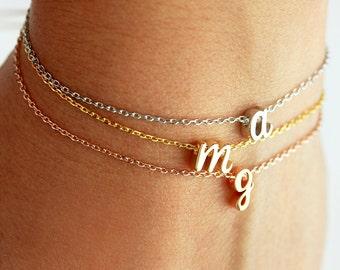 Cursive Initial Bracelet - Dainty Gold Letter Charm Bracelet Chain Custom Personalized Bridesmaid Gift Wedding Monogram Script Gift for Her