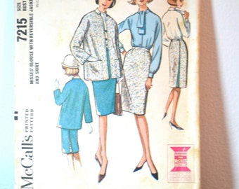 1960s Vintage McCall's Pattern 7215 Misses Blouse, Skirt and Reversible Jacket size 10 bust 31