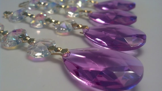 5 lilac teardrop ornament chandelier crystal iridescent triple like this item aloadofball Choice Image