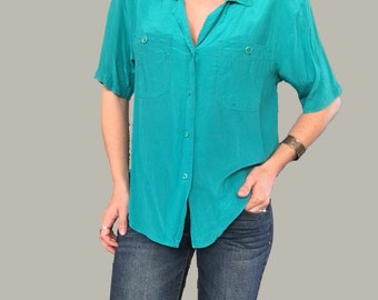Teal Silk Blouse/ Green Silk Blouse/ Blue Silk Blouse/ Vintage Silk Blouse/ Aqua Silk Blouse/ Teal Top/ Blue Top/ Green Top
