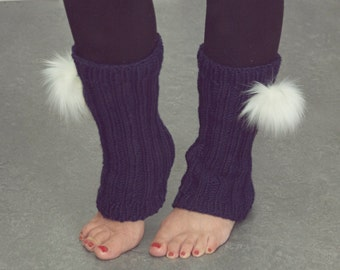 Leg warmers with pompoms for woman or teen hand-knitted gaiters legwarmers pom-poms faux fur acrylic