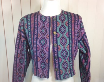 Purple and Turquoise Cropped Jacket, Southwestern Print Cotton Blend, Made in USA by Ali Miles, Ladies Small Previously 20 Dollars ON SALE