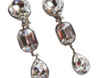 Dazzling Rhinestone Dangle Earrings Vintage 1980 Formal Occasion Bridal Earrings Prom