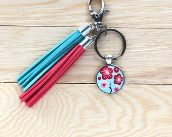 Fabric Button with Tassels Keychain, Cherry Blossoms Keychain, Floral Keychain, Blue Coral Pink Tassels, Purse Charm, Tassels Charm