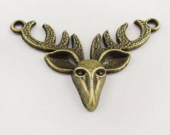 Bronze 4 connectors metal deer head