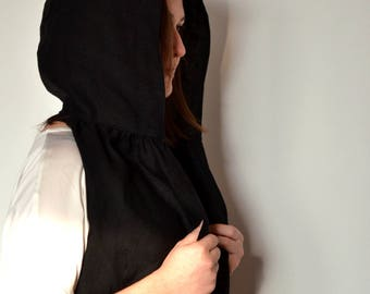 Black Hood Scarf, Hooded Scarf, Scarf Hood, Hoodie, Festival Scarf, Hooded Infinity Scarf,Summer hat,Woman Scarf,Gift for her,Handmade scarf