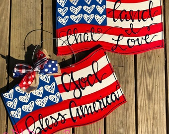 American flag door hanger with handlettering land that i love God bless America or personalized