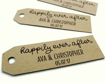 50 Wedding Tags - Personalized Tag - Custom Wedding Favor Tag - 2.5 in. x 0.75 in. - Kraft Tag - Custom Wedding Tag - Favor Tag - Paper WT11